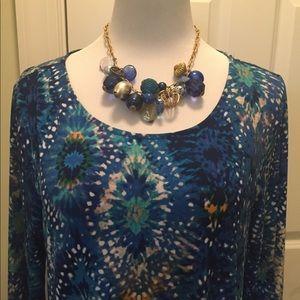 Nina Leonard blue star print swing dress